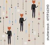 the pattern of arrows  fox   Shutterstock .eps vector #695916340