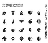 set of 20 editable fruits icons....