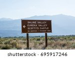 Road sign for Death Valley National Park points of intrest - Scotty