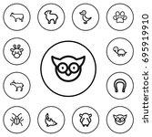 set of 12 editable zoo outline...