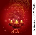 creative diwali festival ... | Shutterstock .eps vector #695920090