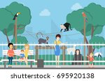 at the zoo. people with... | Shutterstock .eps vector #695920138