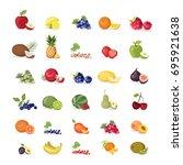 fruits illustrations set on... | Shutterstock .eps vector #695921638