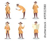 isolated detective set. man in... | Shutterstock .eps vector #695922580