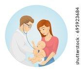 doctor examines baby. mother... | Shutterstock .eps vector #695923684