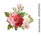 watercolor bouquet of red roses | Shutterstock . vector #695925493
