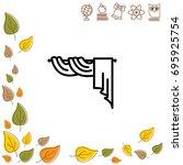 web line icon. window curtain | Shutterstock .eps vector #695925754