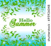 design border  frame with hello ... | Shutterstock .eps vector #695926048
