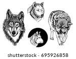 graphical set of wolfs isolated ...   Shutterstock .eps vector #695926858
