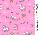 awesome stuff doodle seamless... | Shutterstock .eps vector #695929480