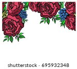 greeting card with roses  can... | Shutterstock .eps vector #695932348