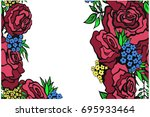 greeting card with roses  can... | Shutterstock .eps vector #695933464