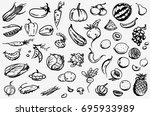 fruits and vegetables vector... | Shutterstock .eps vector #695933989
