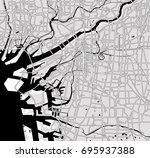 black   white vector map of...   Shutterstock .eps vector #695937388