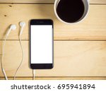 blank screen smartphone with... | Shutterstock . vector #695941894