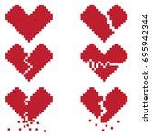 a broken heart is a set of six... | Shutterstock .eps vector #695942344