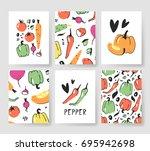 set of templates for summer... | Shutterstock .eps vector #695942698
