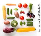 beautiful fresh vegetables...   Shutterstock . vector #695944426