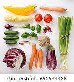 beautiful fresh vegetables... | Shutterstock . vector #695944438