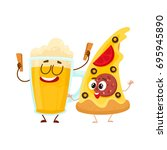 funny beer mug and yummy pizza... | Shutterstock .eps vector #695945890