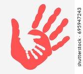 mother and child handprint....   Shutterstock .eps vector #695947243