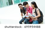 asian students group are... | Shutterstock . vector #695954488