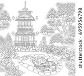 coloring page of oriental... | Shutterstock .eps vector #695956798