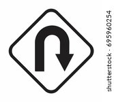 vector u turn roadsign with... | Shutterstock .eps vector #695960254