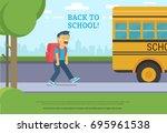 back to school. flat vector... | Shutterstock .eps vector #695961538