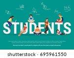 students vector illustration of ... | Shutterstock .eps vector #695961550