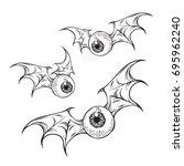flying eyeballs with creepy... | Shutterstock .eps vector #695962240