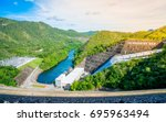 the power station at the... | Shutterstock . vector #695963494