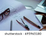 divider  pencil  pen  ruler ... | Shutterstock . vector #695965180