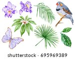 set of watercolor elements. the ... | Shutterstock . vector #695969389