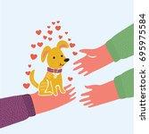 vector cartoon cute funny... | Shutterstock .eps vector #695975584