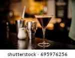 classy bartender garnish... | Shutterstock . vector #695976256