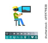 virtual reality flat icon | Shutterstock .eps vector #695979838