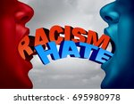racism and hate social issue as ... | Shutterstock . vector #695980978