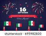 16 september. mexico happy... | Shutterstock .eps vector #695982820