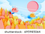cable car paper art style with... | Shutterstock .eps vector #695985064