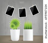 decoration plants and blank... | Shutterstock .eps vector #695987104