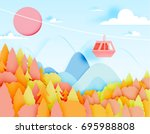 cable car paper art style with... | Shutterstock .eps vector #695988808