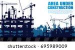 construction silhouette... | Shutterstock .eps vector #695989009