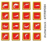 lizard icons set in red color... | Shutterstock .eps vector #695989084