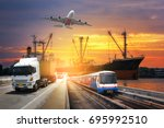 container ship in import export ... | Shutterstock . vector #695992510