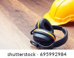 ear protection and hard hat... | Shutterstock . vector #695992984