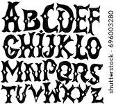 antique alphabet. gothic... | Shutterstock .eps vector #696003280