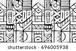Seamless African pattern. Ethnic ornament on the carpet. Aztec style. Figure tribal embroidery. Indian, Mexican, folk pattern. | Shutterstock vector #696005938