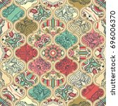 seamless colorful patchwork in...   Shutterstock .eps vector #696006370