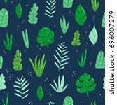jungle leaves vector seamless... | Shutterstock .eps vector #696007279
